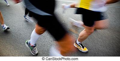 都市人々, -, 動き, 動くこと, ぼやけ, マラソン