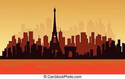 都市眺め, シルエット, 大きい, フランス