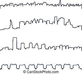 都市風景, 地平線, 矢量, 黑色半面畫像, buidlings