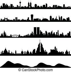 都市風景, 城市地平線, 矢量