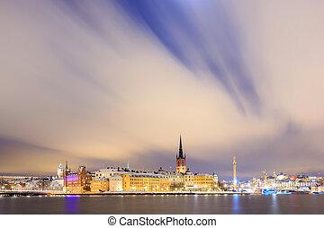 都市風景, ......的, gamla stan, 老 鎮, 斯德哥爾摩