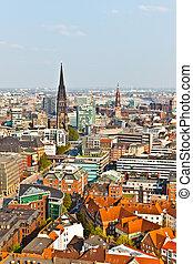 都市風景, 著名, michaelis, 塔, 漢堡