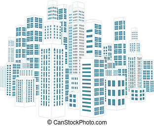 都市, ∥で∥, 建物, そして, skyscrapers.