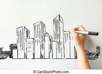 都市, の上, 手, 板, 終わり, 白, 図画