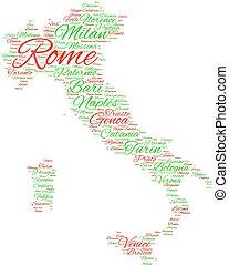 都市, の, イタリア, 単語, 雲