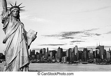 都市, やあ、こんにちは, 黒, ヨーク, 新しい, 白, 対照