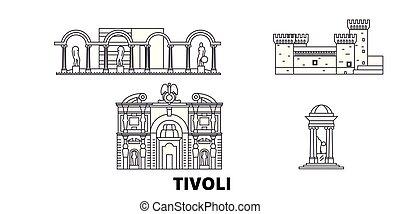 都市, アウトライン, イラスト, イタリア, set., landmarks., シンボル, スカイライン, ベクトル...