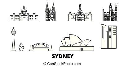 都市, アウトライン, イラスト, 旅行, landmarks., シンボル, スカイライン, ベクトル, 光景, シドニー, オーストラリア, 線, set.