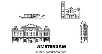 都市, アウトライン, イラスト, 旅行, landmarks., シンボル, スカイライン, ベクトル, 光景, netherlands, アムステルダム, 線, set.
