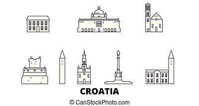都市, アウトライン, イラスト, 旅行, landmarks., シンボル, スカイライン, ベクトル, croatia, 光景, 線, set.