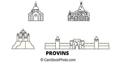 都市, アウトライン, イラスト, 旅行, landmarks., シンボル, フランス, スカイライン, ベクトル, 光景, provins, 線, set.