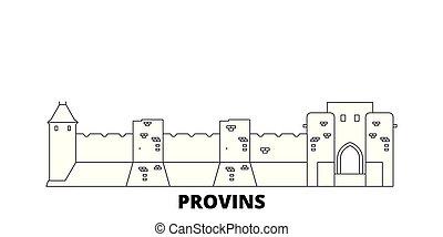 都市, アウトライン, イラスト, 旅行, landmarks., シンボル, フランス, provins, スカイライン, ベクトル, 光景, ランドマーク, 線, set.