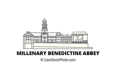 都市, アウトライン, イラスト, 旅行, landmarks., 修道院, シンボル, ベネディクト, スカイライン, ベクトル, millenary, 線, set., ハンガリー, 光景