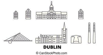 都市, アウトライン, イラスト, set., ダブリン, landmarks., irland, スカイライン, ...