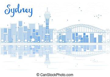 都市, アウトライン, スカイライン, シドニー, reflections., 超高層ビル