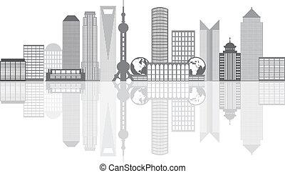 都市, アウトライン, 上海, grayscale, イラスト, スカイライン