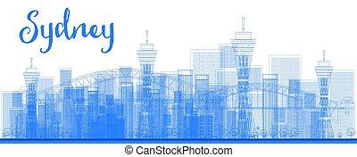 都市, アウトライン, skyscrapers., 抽象的, スカイライン, シドニー