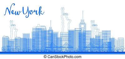 都市, アウトライン, skyscrapers., 抽象的, スカイライン, ヨーク, 新しい