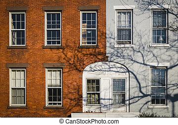 都市, アパート, 古い, クラシック, ヨーク, 新しい, 建物
