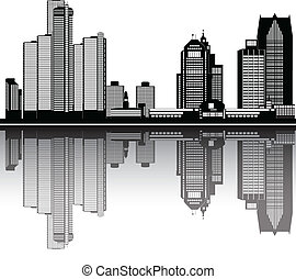 都市, アメリカ人, スカイライン, デトロイト