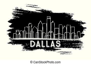 都市, アメリカ, ダラス, silhouette., スカイライン, テキサス