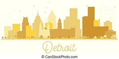 都市, アメリカ, 金, デトロイト, silhouette., スカイライン