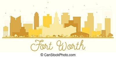 都市, アメリカ, 金, silhouette., スカイライン, 価値, テキサス, 城砦