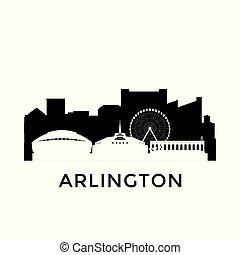 都市, アーリントン, テキサス, skyline.