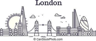 都市, イギリス\, アウトライン, 建物, ランドマーク, イラスト, 有名, スカイライン, ベクトル, ロンドン, 観光事業