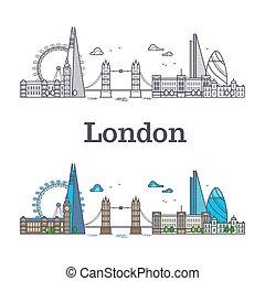 都市, イギリス\, 建物, ランドマーク, 有名, スカイライン, ロンドン, 観光事業