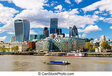 都市, イギリス\, 超高層ビル, 上に, -, ロンドン, thames