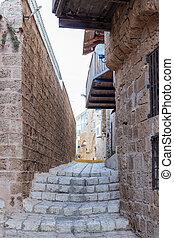 都市, イスラエル, 古い, 静寂, 通り, yafo