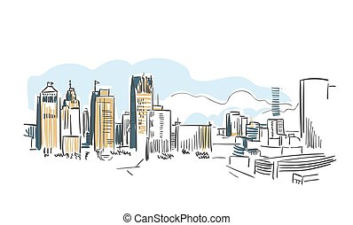 都市, イラスト, スケッチ, デトロイト, ミシガン州, ベクトル, アメリカ, 線画, アメリカ