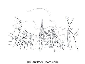 都市, イラスト, スケッチ, ベクトル, ヨーロッパ, ウィーン, オーストリア, 線画