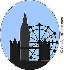 都市, イラスト, バックグラウンド。, ベクトル, ロンドン, 白