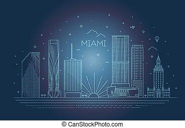 都市, イラスト, マイアミ, 平ら, ベクトル, デザイン, スカイライン