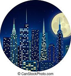 都市, イラスト, 夜