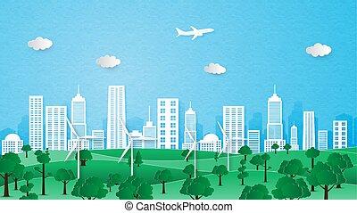 都市, エコロジー, concept., 環境, 保存, 風景