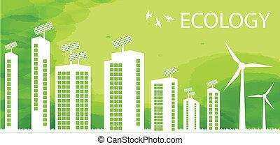都市, エコロジー, eco, ベクトル, 緑の背景