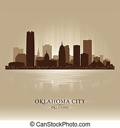 都市, オクラホマ, シルエット, スカイライン