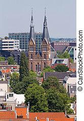 都市, オランダ, netherlands, 作られた, 鐘, 1863., posthoornkerk, westerkerk, 教会, タワー, 光景