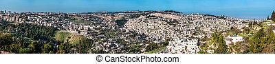 都市, オリーブ, 古い, パノラマ, 山, ドーム, 壁, 岩, エルサレム