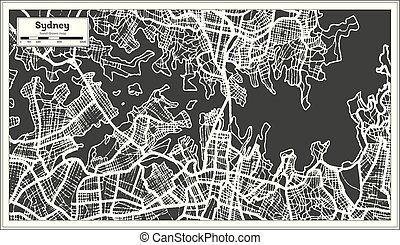 都市, オーストラリア, アウトライン, 地図, map., レトロ, シドニー, style.