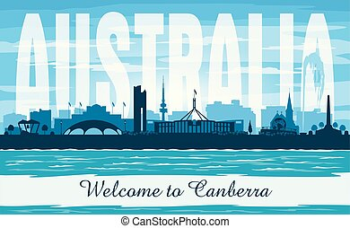都市, オーストラリア, シルエット, canberra, スカイライン, ベクトル