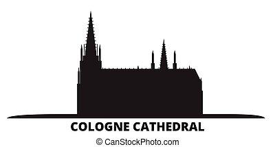 都市, オーデコロン, 隔離された, 旅行, 黒, スカイライン, ドイツ, 大聖堂, illustration., 都市の景観, ベクトル