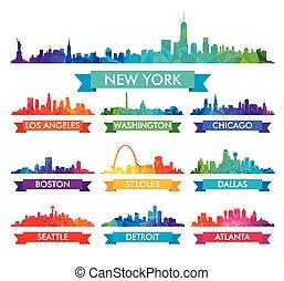都市, カラフルである, イラスト, スカイライン, ベクトル, アメリカ