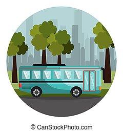 都市, カラフルである, バス, フレーム, 風景, 円