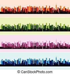 都市, カラフルである, パノラマ, イラスト, ベクトル, 背景, 風景