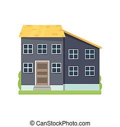 都市, カラフルである, 大きい, 灰色, 黄色, 屋根, 家