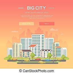 都市, カラフルである, 大きい, 現代, -, イラスト, ベクトル